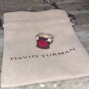 David Yurman 15mm Garnet Cushion on Point Ring